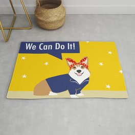 Corgi Rosie - Rosie the riveter, dog, dogs, dog costume, cute dog Rug