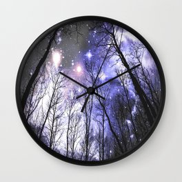 Black Trees Periwinkle Lavender space Wall Clock