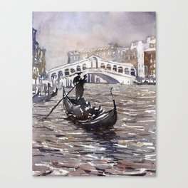 Rialto Bridge and gondolas in medieval city of Venice, Italy.  Watercolor painting of Venice. Canvas Print