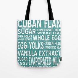 Cuban Flan Word Food Art Poster (Teal) Tote Bag