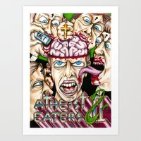 atheist Art Prints featuring Atheist Eaters II by Adam Bright