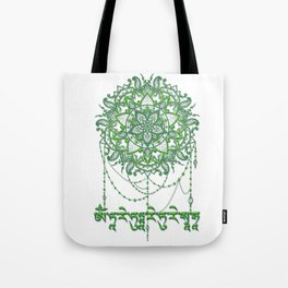 Green Tara Mantra with Mandala Tote Bag
