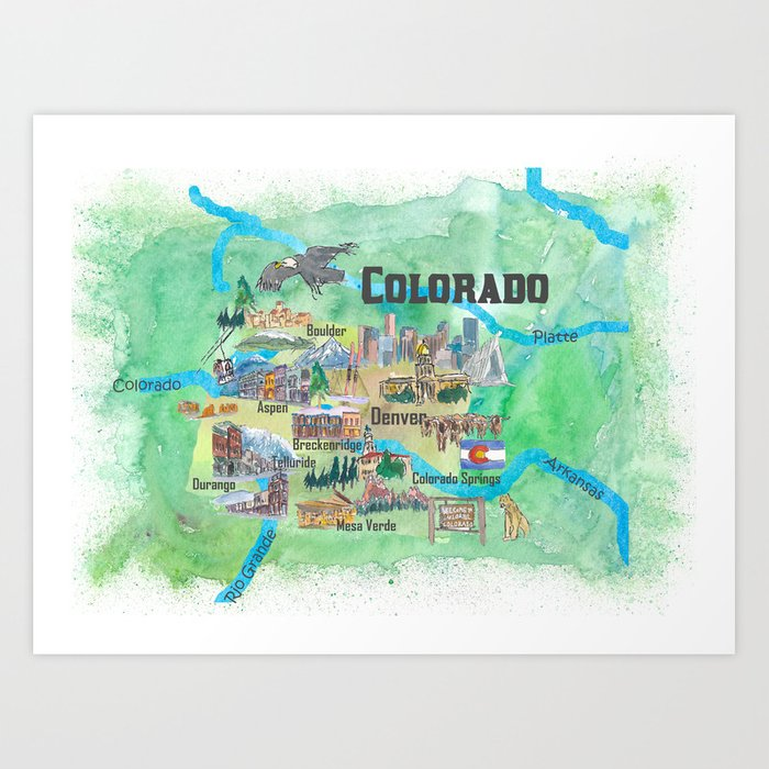 Usa Colorado State Travel Poster Illustrated Art Map Art Print By
