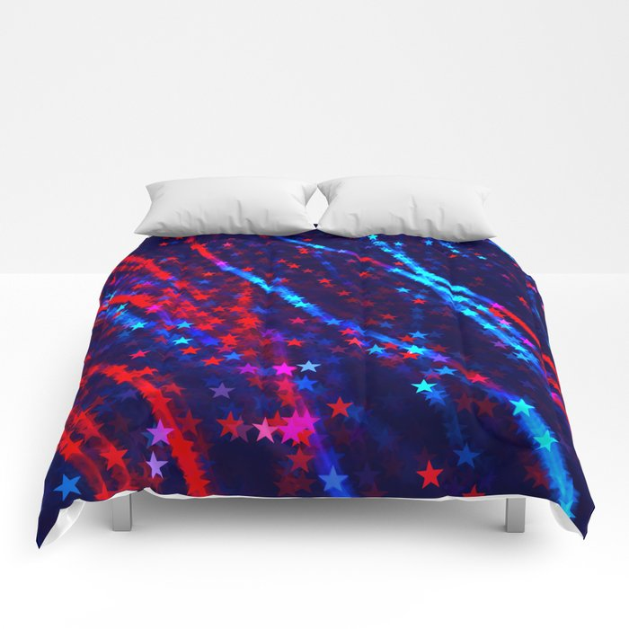 Red Blue Purple Stars Neon Glitter Confetti Colorful Pattern Fourth of July Presidents Day Fractal Comforters
