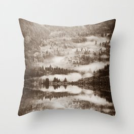 sepia forest woodland nature landscape print Throw Pillow