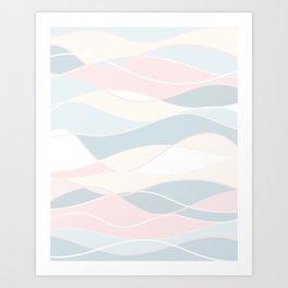 Pastel Waves // Beach Surf Light Colors Peach Blush Aqua Ocean Tides Vintage Surfing Vibes Art Print