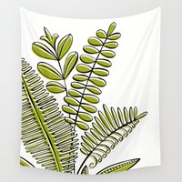 study Wall Tapestries featuring Fern Study by Heather Dutton