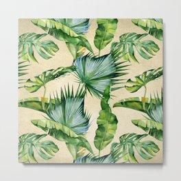 Green Tropics Leaves on Linen Metal Print