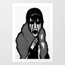 """""""Fluffy Manson"""" in Black&White Art Print"""