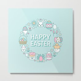 Happy Easter Wreath Aqua Bunny Eggs and Baskets - Pastel Teal Metal Print