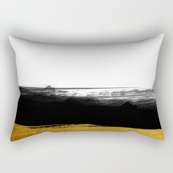 Black and Gold grunge stripes on clear white backround - Stripe- Striped Rectangular Pillow