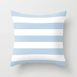 Beau blue - solid color - white stripes pattern Throw Pillow