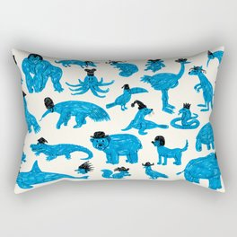 Blue Animals Black Hats Rectangular Pillow