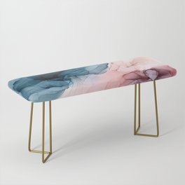 Pastel Plum, Deep Blue, Blush and Gold Abstract Painting Bench