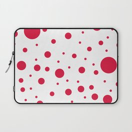 Mixed Polka Dots - Crimson Red on White Laptop Sleeve