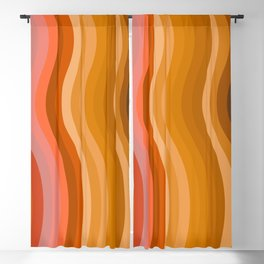 Groovy Wavy Lines in Retro 70s Colors Blackout Curtain