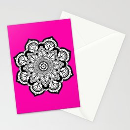 Black and White Flower in Magenta Stationery Cards