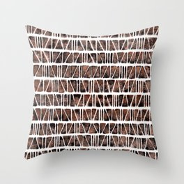 Watercolor Pattern Play - Triangle Meets Rectangle - Hematite + Bronze Throw Pillow
