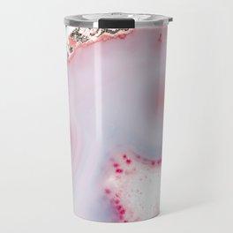 Pink Rose Gold Blush Agate Marble Gemstone Travel Mug