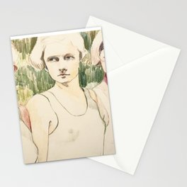 Girls Waiting in Line Stationery Cards