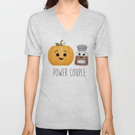 Pumpkin + Spice = Power Couple Unisex V-Neck
