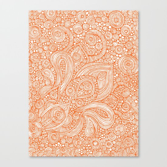Orange doodles Canvas Print