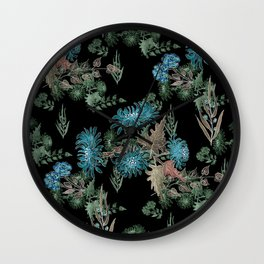 Blue chrysanthemums. Black . Watercolor . Wall Clock