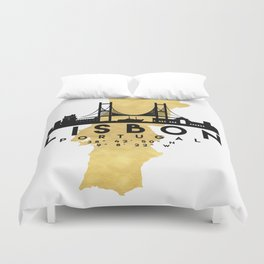 LISBON PORTUGAL SILHOUETTE SKYLINE MAP ART Duvet Cover