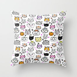 Whimsical Cat Faces Pattern Throw Pillow