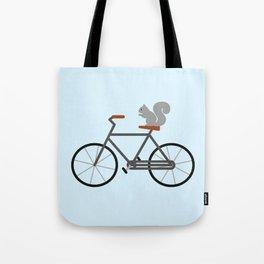 Squirrel Riding Bike Tote Bag
