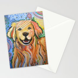 Max ... Abstract dog art, Golden Retriever, Original animal painting Stationery Cards
