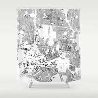 melbourne Shower Curtains featuring MELBOURNE by Maps Factory