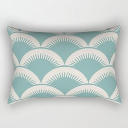 Japanese Fan Pattern Foam Green and Beige Rectangular Pillow