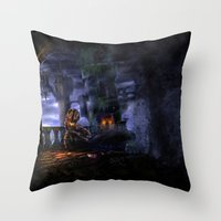 castlevania Throw Pillows featuring Castlevania: Vampire Variations- Bridge by LightningArts
