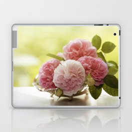 Pink Roses in a silver bowl- Vintage Rose Stilllife Photography Laptop & iPad Skin