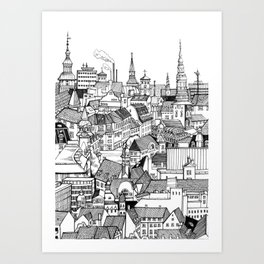 Copenhagen Black & White Art Print