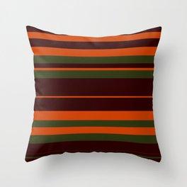 Pattern Bandes Colors Marron/Orange Throw Pillow
