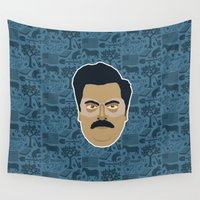 parks and recreation Wall Tapestries featuring Ron Swanson - Parks and recreation by Kuki