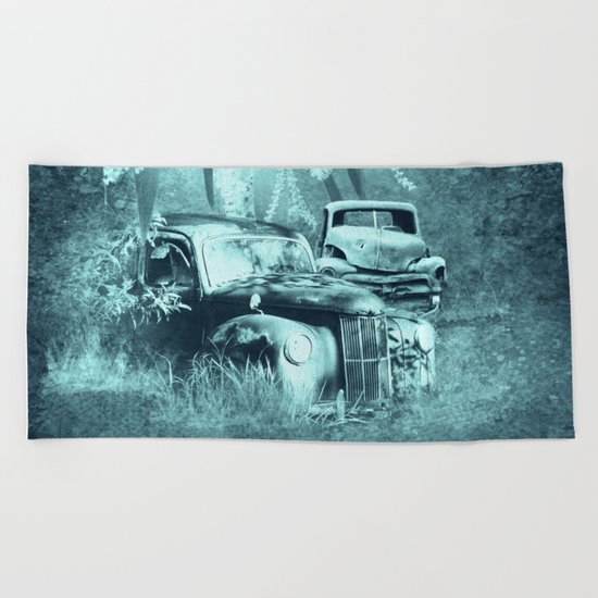 cars and butterflies in moonlight Beach Towel
