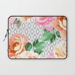 Flowers blooming in rhombuses Laptop Sleeve