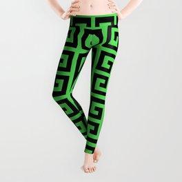 Greek Key (Green & Black Pattern) Leggings
