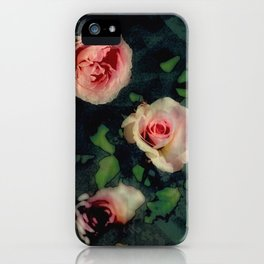 Big Pink Roses and Green Leaves Graphic iPhone Case