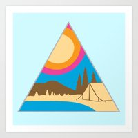 camping Art Prints featuring Camping by Wendy Ding: Illustration