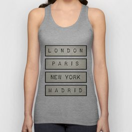 London | Paris | New York | Madrid Unisex Tank Top