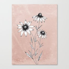 Wildflowers Ink Drawing | Dusty Pink Canvas Print