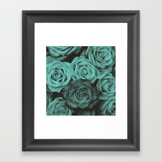 Polka dot roses in mint Framed Art Print
