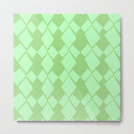Geometric Diamonds Design (Mint Green) Metal Print