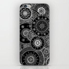 Lacy White Mandalas on Black iPhone Skin