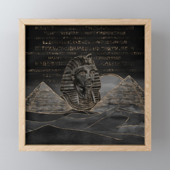 Tutankhamun on Egyptian pyramids landscape Framed Mini Art Print