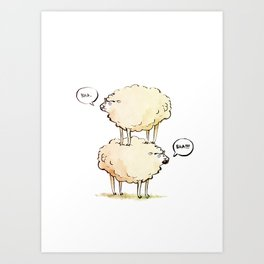 Dolly the Sheep (and Clone) Art Print